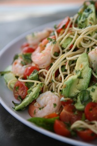 Chilli Prawn Spaghetti. Photo Sally Greer